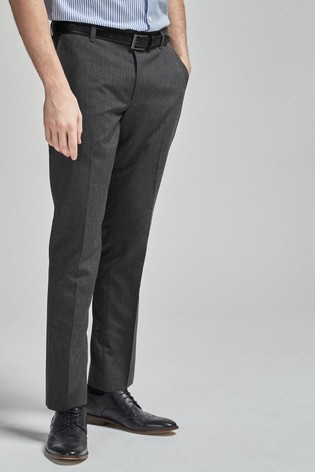 Light Grey Slim Fit Belted Trousers