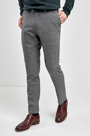 Light Grey Slim Fit Signature Wool Blend Stretch Flannel Trousers