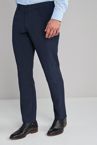 Navy Slim Fit Five Pocket Jean Style Trousers