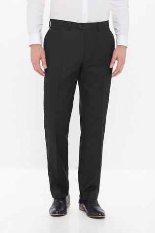 Black Regular Fit Wool Blend Textured Trousers