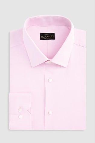 Pink Regular Fit Single Cuff Signature Textured Shirt