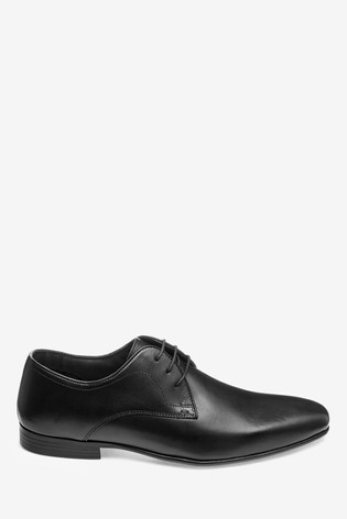 Black Leather Plain Derby Shoes