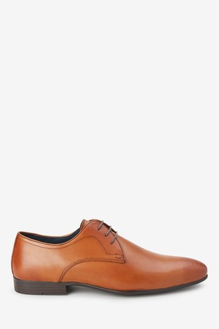 Tan Leather Plain Derby Shoes