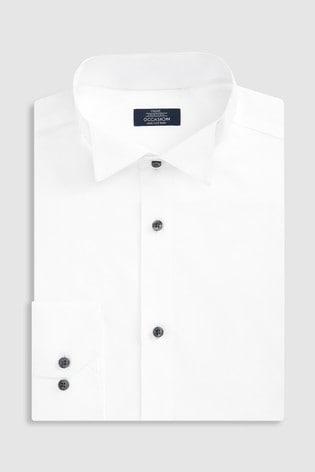 White Slim Fit Single Cuff Cotton Wing Collar Shirt