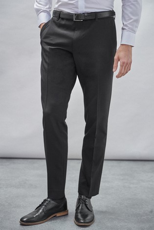 Black Slim Fit Belted Trousers