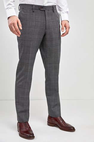 Grey Check Wool Mix Tailored Fit Trousers