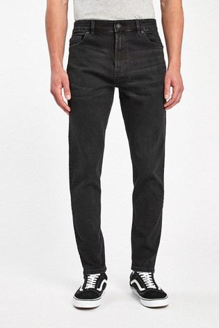 Black Tapered Slim Fit Jeans With Stretch