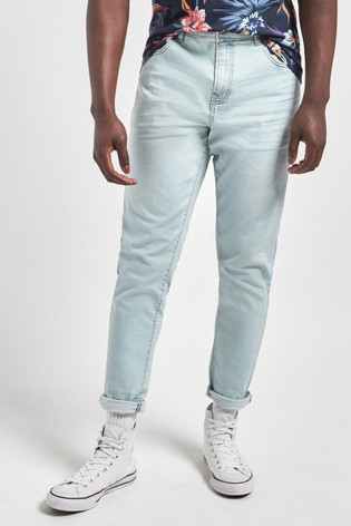 Bleach Tapered Slim Fit Jeans With Stretch