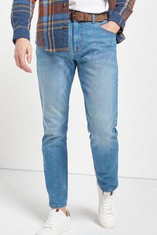 Bright Blue Slim Fit Belted Jeans With Stretch