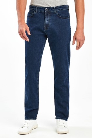 Deep Blue Straight Fit Jeans With Stretch