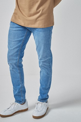 Bright Blue Tapered Slim Fit Jeans With Stretch