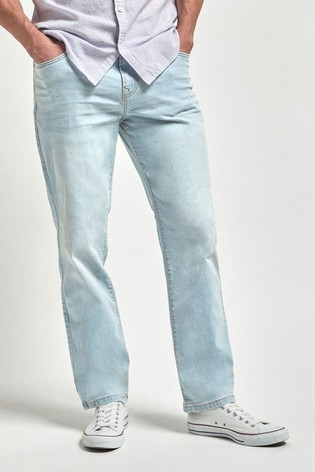 Bleach Straight Fit Jeans With Stretch
