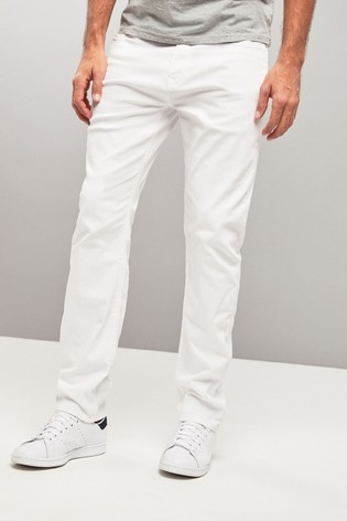 White Slim Fit Jeans With Stretch