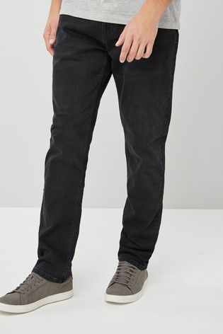 Black Straight Fit Jeans With Stretch