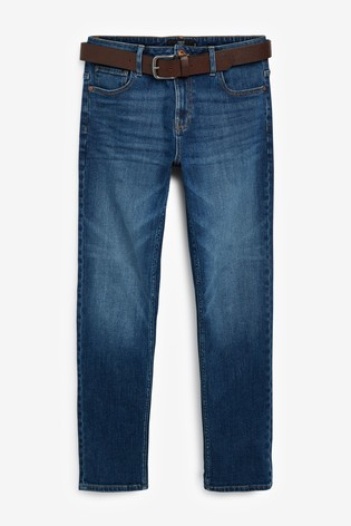 Mid Blue Slim Fit Belted Jeans With Stretch