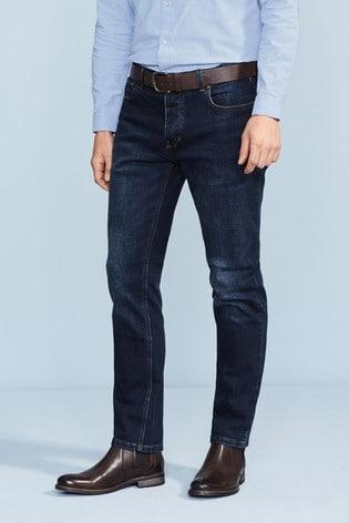 Dark Blue Wash Slim Fit Belted Stretch Jeans