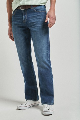 Mid Blue Bootcut Fit Belted Jeans With Stretch