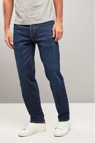 Mid Blue Straight Fit Jeans With Stretch