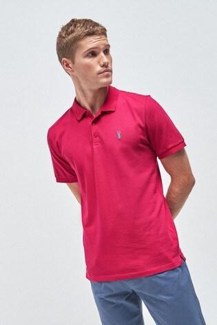 Bright Pink Regular Fit Pique Poloshirt