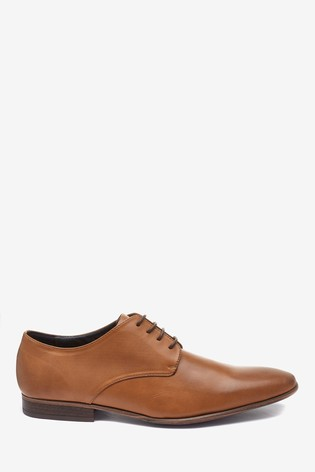 Tan Textured Derby Shoes