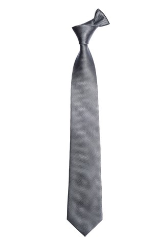 Grey Wide Signature Textured Silk Tie
