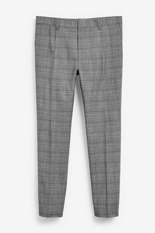 Black/White Slim Tapered Patterned Cotton Stretch Pleated Chino Trousers