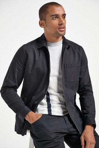Black Lightweight Zip Shacket