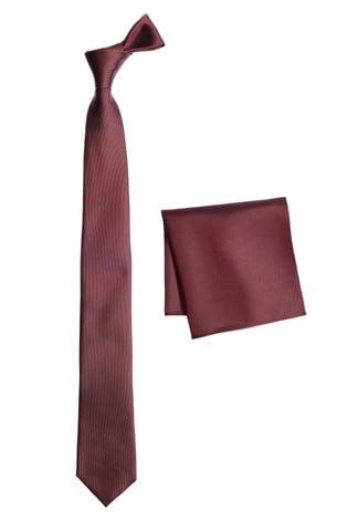 Burgundy Slim Silk Tie And Pocket Square Set