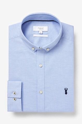 Light Blue Regular Fit Long Sleeve Stretch Oxford Shirt