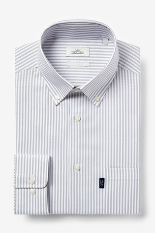 Grey Stripe Slim Fit Single Cuff Easy Iron Button Down Oxford Shirt
