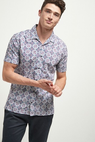 White/Blue/Red Slim Fit Print Short Sleeve Shirt
