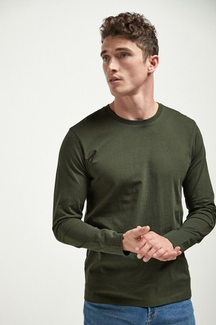 Dark Khaki Regular Fit Long Sleeve Crew Neck T-Shirt