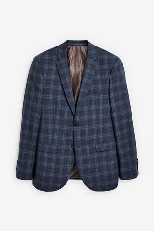 Blue Slim Fit Slim Fit Signature Check Suit: Jacket