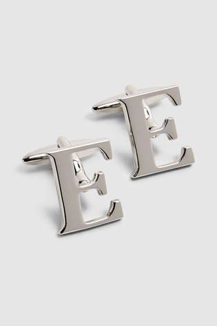 Silver Tone Personalised Letter Cufflinks