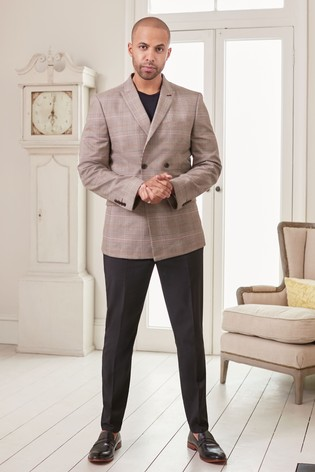 Taupe Double Breasted Slim Fit Check Suit: Jacket