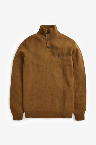 Mustard Signature Lambswool Button Neck Jumper