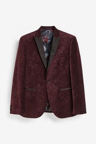 Burgundy Slim Fit Printed Velvet Jacket