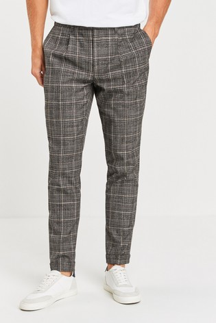 Grey Check Pleated Slim Tapered Fit Trousers