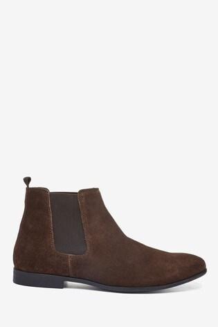Brown Suede Slim Chelsea Boots