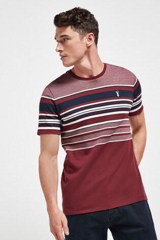Burgundy Stripe Soft Touch Regular Fit T-Shirt