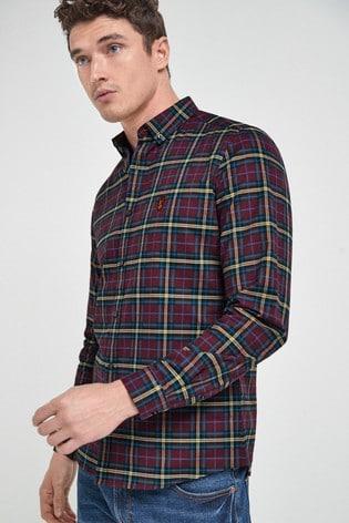 Purple Slim Fit Long Sleeve Check Stretch Oxford Shirt