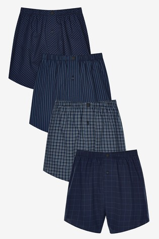 Dark Blue Pattern Woven Boxers Pure Cotton Four Pack