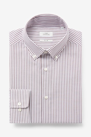 Rust/White Stripe Slim Fit Single Cuff Easy Iron Button Down Oxford Shirt