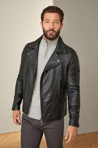 Black Signature Leather Asymmetric Biker Jacket