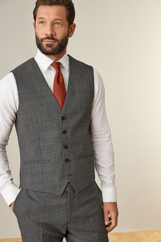 Grey Empire Mills Signature Puppytooth Suit: Waistcoat