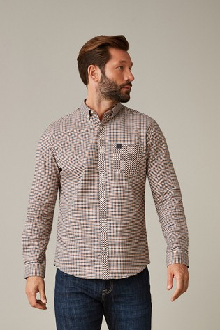 White/Rust/Navy Regular Fit Gingham Long Sleeve Stretch Oxford Shirt