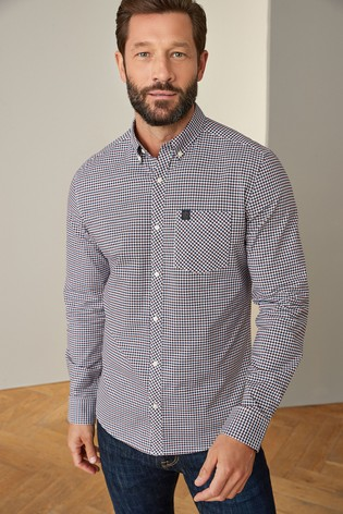 White/Burgundy/Navy Regular Fit Gingham Long Sleeve Stretch Oxford Shirt