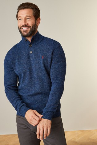 Navy Signature Lambswool Button Neck Jumper