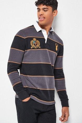 Black/Grey Stripe Rugby Shirt