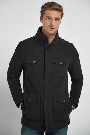 Charcoal Moleskin Four Pocket Coat